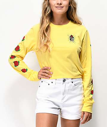 Empyre Kode Rose Yellow Crop Long Sleeve T-Shirt