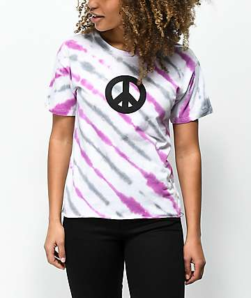 Empyre Kym Peace Sign Pink Tie Dye T-Shirt