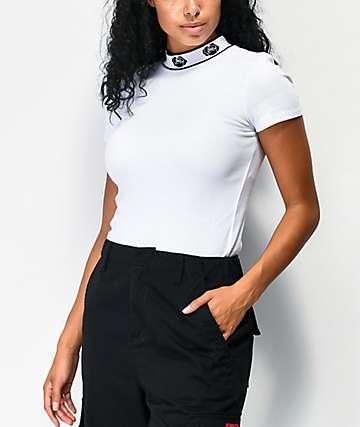 Empyre Mayzie White Mock Neck Knit T-Shirt