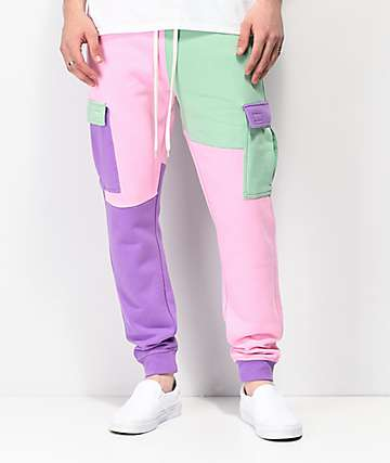 Empyre Mork Colorblock Green, Pink & Purple Jogger Sweatpants
