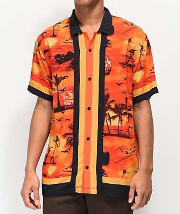 Empyre Outer Banks camisa de manga corta naranja y negra