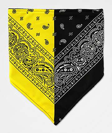 Empyre Paisley Split Yellow & Black Face Mask