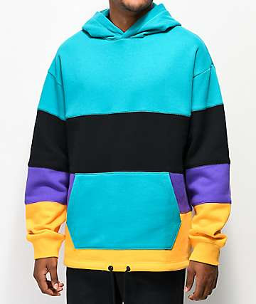 Empyre Patchy Teal, Black, Purple & Yellow Hoodie