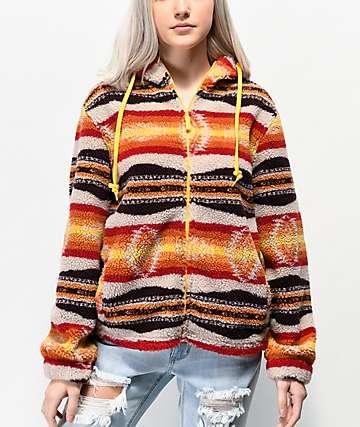 Empyre Peak Orange, Cream & Brown Native Print Fleece Sweatshirt