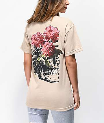 Empyre Photo Skull Tan Boyfriend T-Shirt