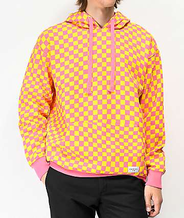 Empyre Pixel Checkered Orange & Pink Hoodie