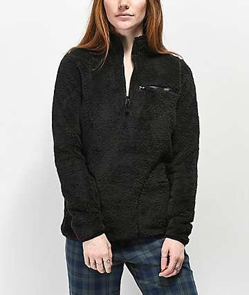 Empyre Posie Black Sherpa Quarter Zip Jacket