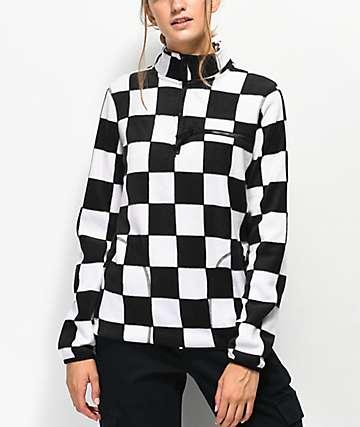 Empyre Posie Checkered Quarter Zip Fleece Jacket