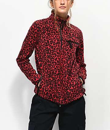 Empyre Posie Red Leopard Quarter Zip Fleece Jacket