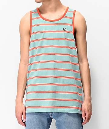 Empyre Prep Teal & Orange Striped Tank Top