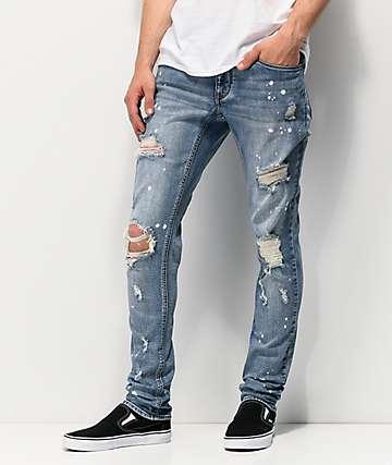 Empyre Recoil Harrison jeans súper ajustados azules con salpicaduras