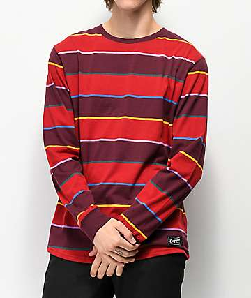 Empyre Recon Dark Red Striped Long Sleeve T-Shirt