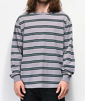 Empyre Recon Grey & Blue Stripe Long Sleeve T-Shirt
