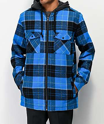 Empyre Retreat Blue Hooded Flannel Shirt