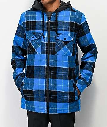 Empyre Retreat camisa de franela azul con capucha