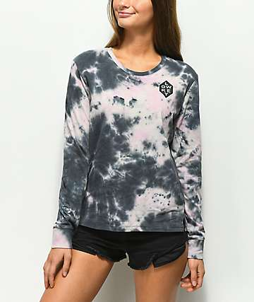Empyre Rubino Low Key Pink & Black Tie Dye Long Sleeve T-Shirt
