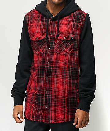 Empyre Rustin Red & Black Hooded Flannel Shirt