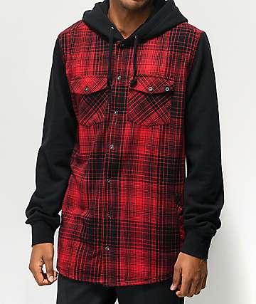 Empyre Rustin camisa de franela roja y negra con capucha