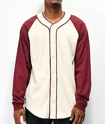 Empyre Sammy Cream & Burgundy Long Sleeve Baseball Jersey