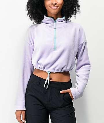 Empyre Sequoia Purple Crop Half Zip Fleece Sweatshirt