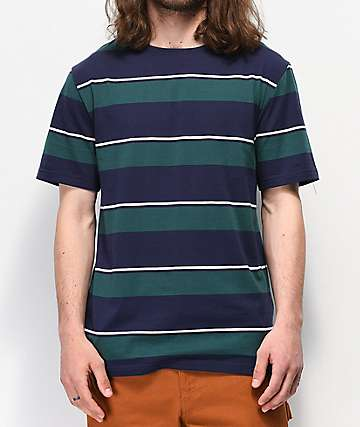 Empyre Sideline Navy & Green Striped T-Shirt