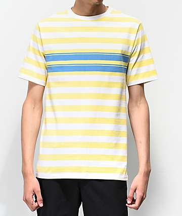 Empyre Split Blue & Yellow Striped Knit T-Shirt