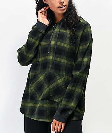 Empyre Spruce Green Half Zip Hooded Flannel Shirt