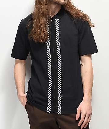 Empyre Striker Black Zip-Up Polo Shirt