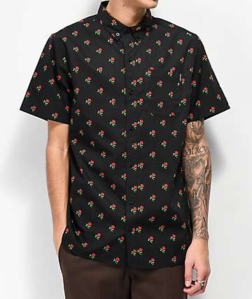 Empyre Tate Black Short Sleeve Button Up T-Shirt
