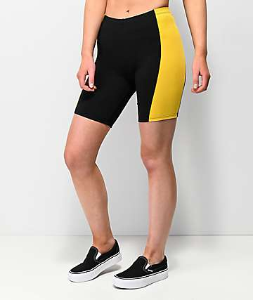 Empyre Trina Black & Yellow Bike Shorts