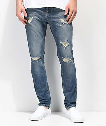 Empyre Verge Lap Blue Distressed Tapered Skinny Jeans