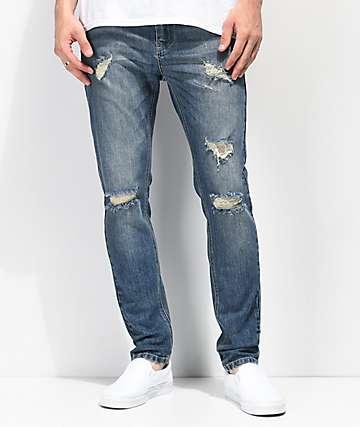 Empyre Verge Lap jeans ajustados y desgastados en azul