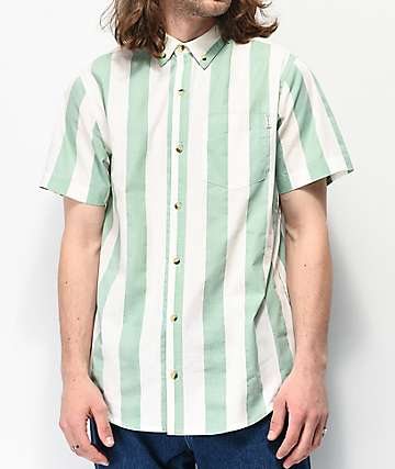 Empyre Vinton White & Mint Stripe Short Sleeve Button Up Shirt
