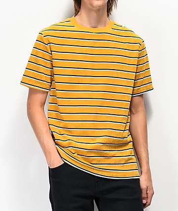 Empyre Waylon camiseta dorada, azul y negra de rayas