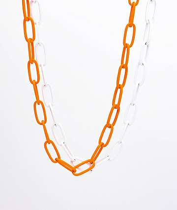 Empyre White & Orange Chain 2 Pack Necklaces