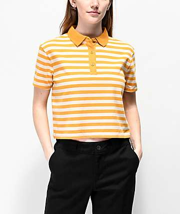 Empyre Wilanne Yellow & White Striped Crop Polo Shirt