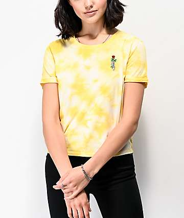 Empyre Yohanna Skeleton Rose Yellow Tie Dye T-Shirt