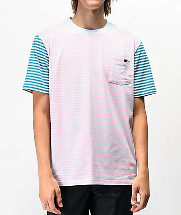 Enjoi Tight Stripe Pink & Teal Pocket T-Shirt