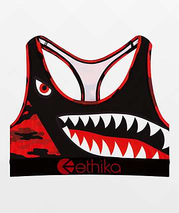 Ethika Hood Nation Red Camo Sports Bra