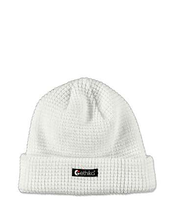 Ethika Thermal Knit White Beanie