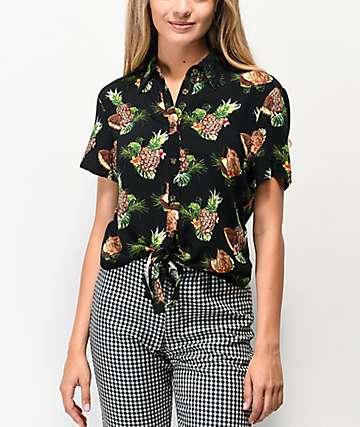 Ethos Pineapples camisa negra de manga corta anudada