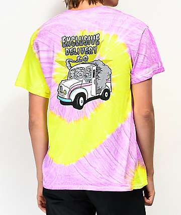 Exclusive Delivery Co. Hotbox Yellow & Purple Tie Dye T-Shirt
