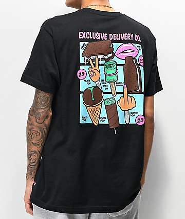 Exclusive Delivery Co. Ice Cream Menu Black T-Shirt