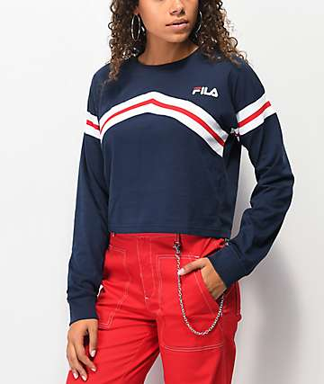 FILA Aja Zigzag Navy Crop Long Sleeve T-Shirt