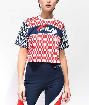 FILA Alba Red, White & Blue Crop T-Shirt