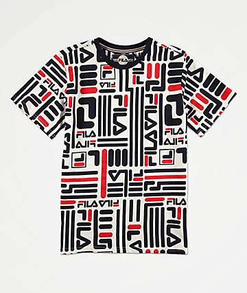 FILA Boys All Over Logo Printed White, Navy & Red T-Shirt