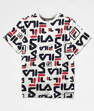 FILA Boys Carmelo All Over White T-Shirt