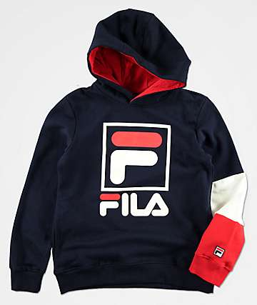 FILA Boys Owen Navy & Red Colorblock Hoodie