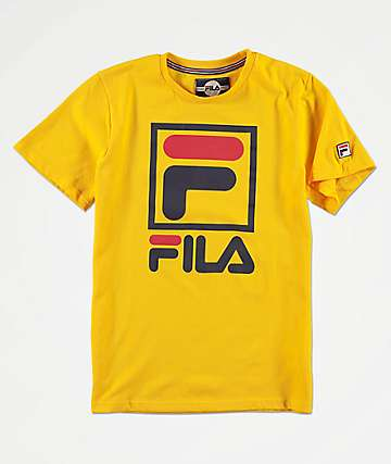 FILA Boys Stacked Logo Yellow T-Shirt