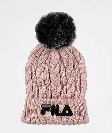 FILA Cable Knit Pink Pom Beanie